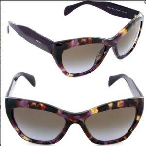 RARE PRADA Poeme Cat-Eye Violet Havana Sunglasses